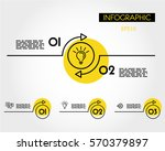 yellow linear infographic arc... | Shutterstock .eps vector #570379897