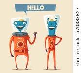 Friendly Aliens. Cartoon Vecto...