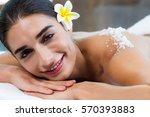 woman lying on massage table...   Shutterstock . vector #570393883