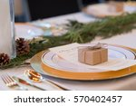 wedding reception tables with...   Shutterstock . vector #570402457