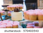 white wedding cake at a...   Shutterstock . vector #570403543