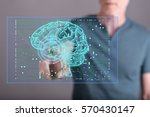 man touching an artificial...   Shutterstock . vector #570430147