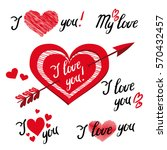 i love you   romantic elements... | Shutterstock . vector #570432457