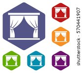 curtain on stage icons set... | Shutterstock .eps vector #570441907