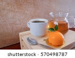 a cup of coffee with flower... | Shutterstock . vector #570498787