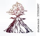hand drawn volcano. nature... | Shutterstock .eps vector #570502897