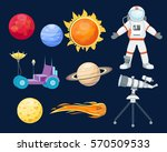 astronomy space rocket cartoon... | Shutterstock .eps vector #570509533