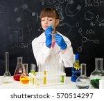 little schoolgirl in white gown ... | Shutterstock . vector #570514297