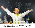 excited schoolboy with hands up ... | Shutterstock . vector #570514303