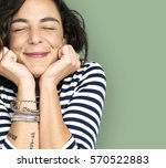 Small photo of Woman Smile Emotion Expression Studio Portrait