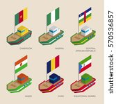set of isometric 3d ships with... | Shutterstock .eps vector #570536857