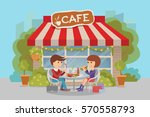 girl and boy eating fast food.... | Shutterstock .eps vector #570558793