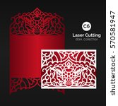 laser cutting with skull.... | Shutterstock .eps vector #570581947