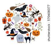 set of halloween icons in... | Shutterstock . vector #570608377