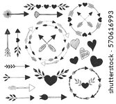 hearts and arrows. vector.... | Shutterstock .eps vector #570616993