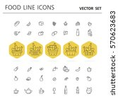 set of food and drinks icons... | Shutterstock .eps vector #570623683