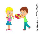 kids boy with gift and girl on... | Shutterstock .eps vector #570628033