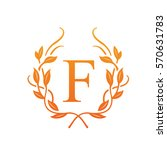 vector orange leaf initial f... | Shutterstock .eps vector #570631783