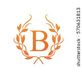vector orange leaf initial b...
