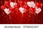 red and pink balloons with... | Shutterstock .eps vector #570632107