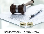 divorce decree form with ring | Shutterstock . vector #570636967