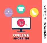 online shopping illustration  | Shutterstock .eps vector #570638197