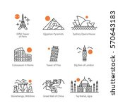City travel landmarks, tourist attraction in various countries of Europe, Asia & Africa. Thin black line art icons with flat design elements. Modern linear style illustrations isolated on white. | Shutterstock vector #570643183