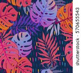 summer exotic floral tropical... | Shutterstock .eps vector #570655543