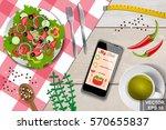 healthy diet. salad. vegetables.... | Shutterstock .eps vector #570655837