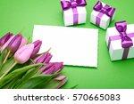 greeting card  a bouquet of... | Shutterstock . vector #570665083