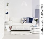 white spacious living room with ... | Shutterstock . vector #570668923