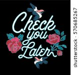 Slogan Print.rose Embroidery...