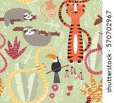 seamless pattern with cute rain ... | Shutterstock .eps vector #570702967