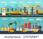 oil industry horizontal banners ... | Shutterstock .eps vector #570709897