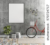 3d interior with blank frame... | Shutterstock . vector #570724717