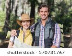 happy young couple with map... | Shutterstock . vector #570731767