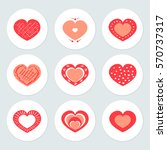 vector hearts set of design... | Shutterstock .eps vector #570737317