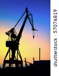 silhouette of a giant crane at... | Shutterstock . vector #57076819