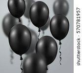 3d realistic black balloon.... | Shutterstock .eps vector #570781957