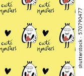 vector cute monsters pattern on ... | Shutterstock .eps vector #570790477
