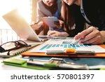business team meeting present... | Shutterstock . vector #570801397
