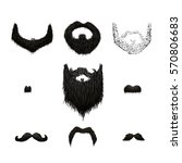 set of detailed black mustaches ... | Shutterstock . vector #570806683