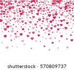 Hearts confetti on white background. Vector repeatable pattern for Valentines