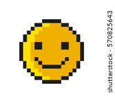 smiley pixel art style on white ... | Shutterstock .eps vector #570825643