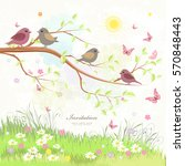 cute greeting card with birds... | Shutterstock .eps vector #570848443