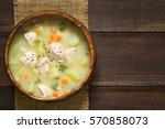 chicken and potato chowder soup ... | Shutterstock . vector #570858073