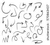 black hand drawn arrow set ... | Shutterstock .eps vector #570863437