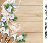 wedding floral top view... | Shutterstock .eps vector #570866083