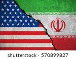 iranian flag on broken wall and ...   Shutterstock . vector #570899827