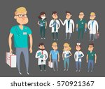 doctor character man and woman... | Shutterstock .eps vector #570921367